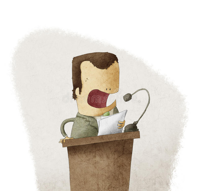 Man at the podium giving speech royalty free illustration