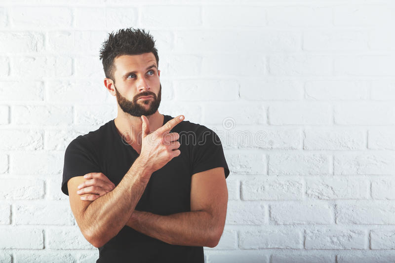 Man with pointed finger royalty free stock photography