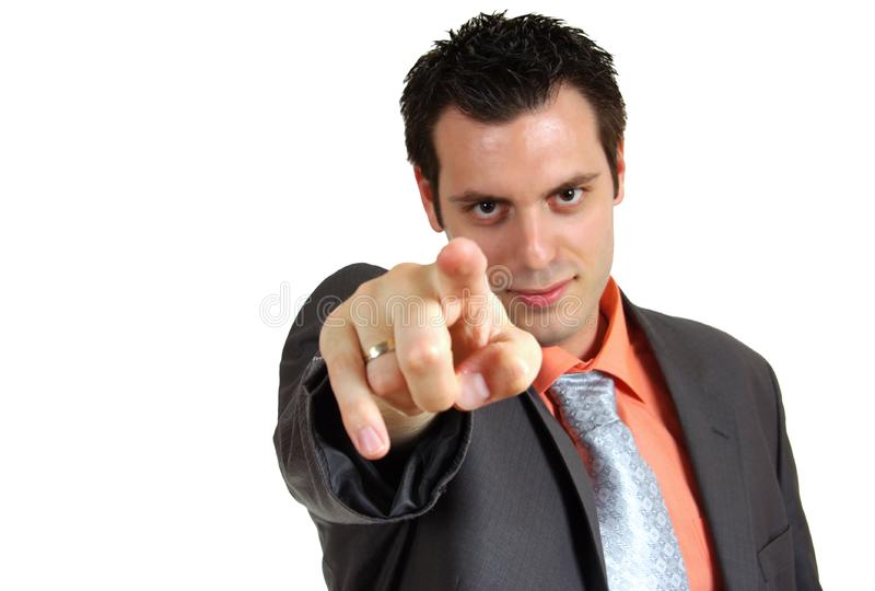 Man pointing finger in the camera stock photography