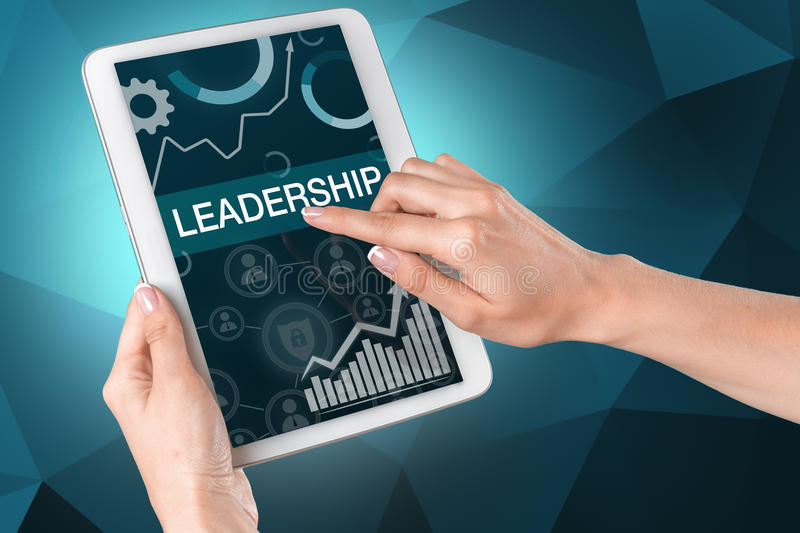 Man pointing with finger 'Leadership' inscription stock photography