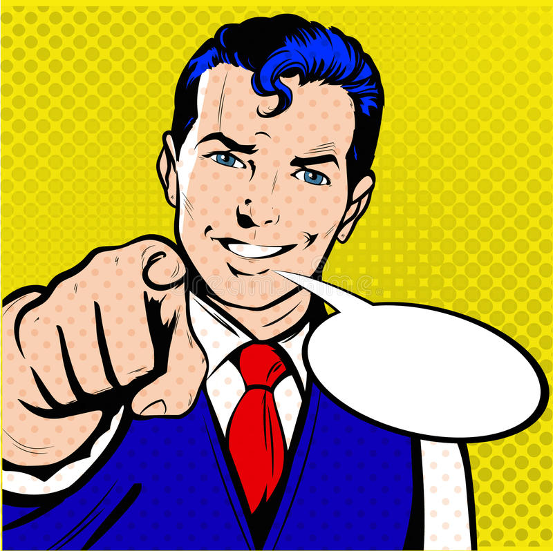 Man Pointing Finger Retro Style Pop Art royalty free stock photography