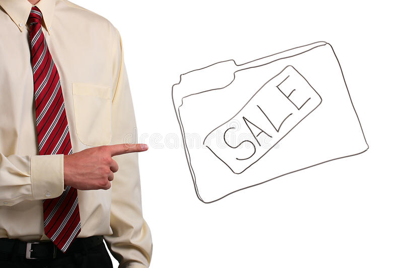Man pointing at a folder. Man in a shirt and a tie pointing at a drawing of a sale folder. Add your text to the folder royalty free stock images