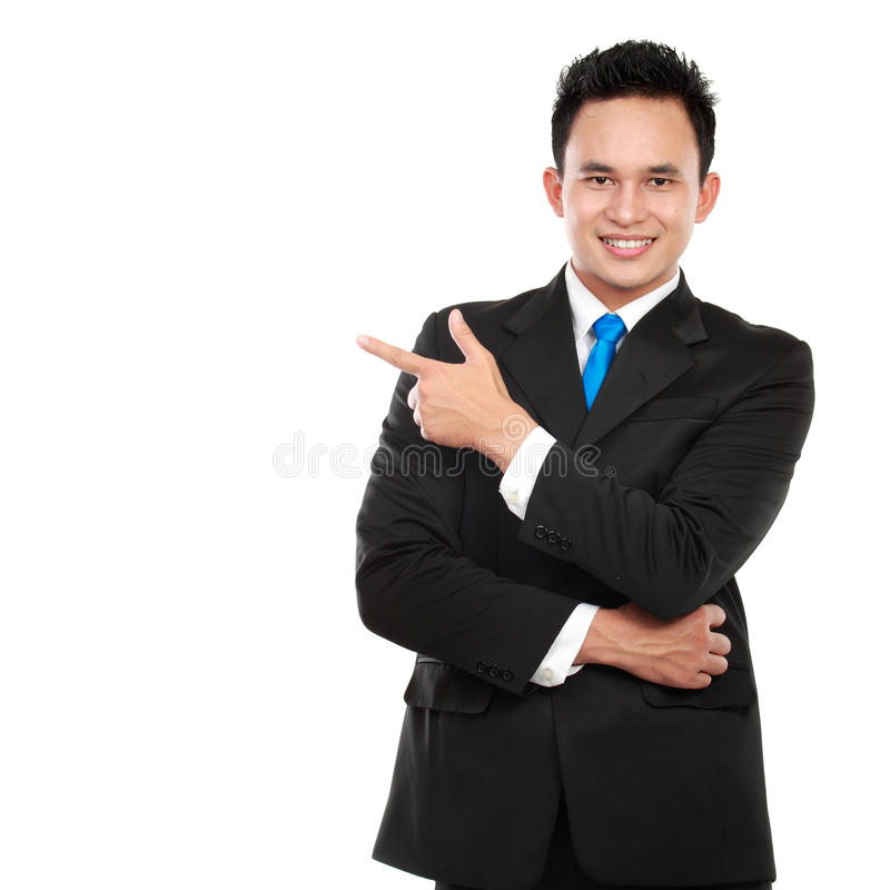 Man pointing his finger on the copyspace