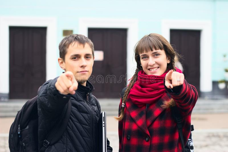 Man pointing his finger stock photography