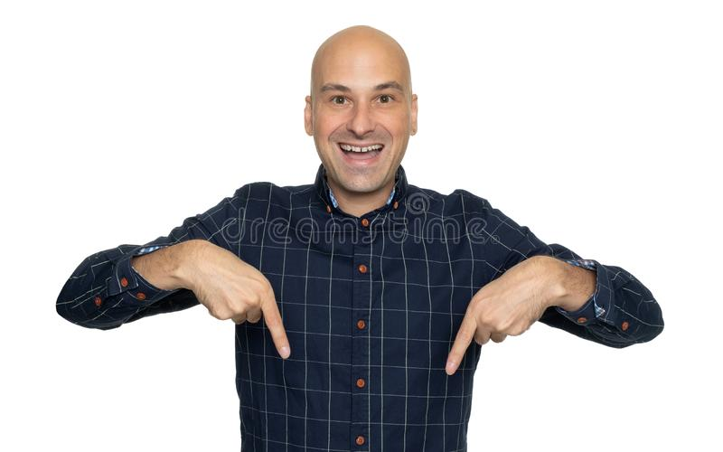 Man pointing his fingers down. Isolated royalty free stock images