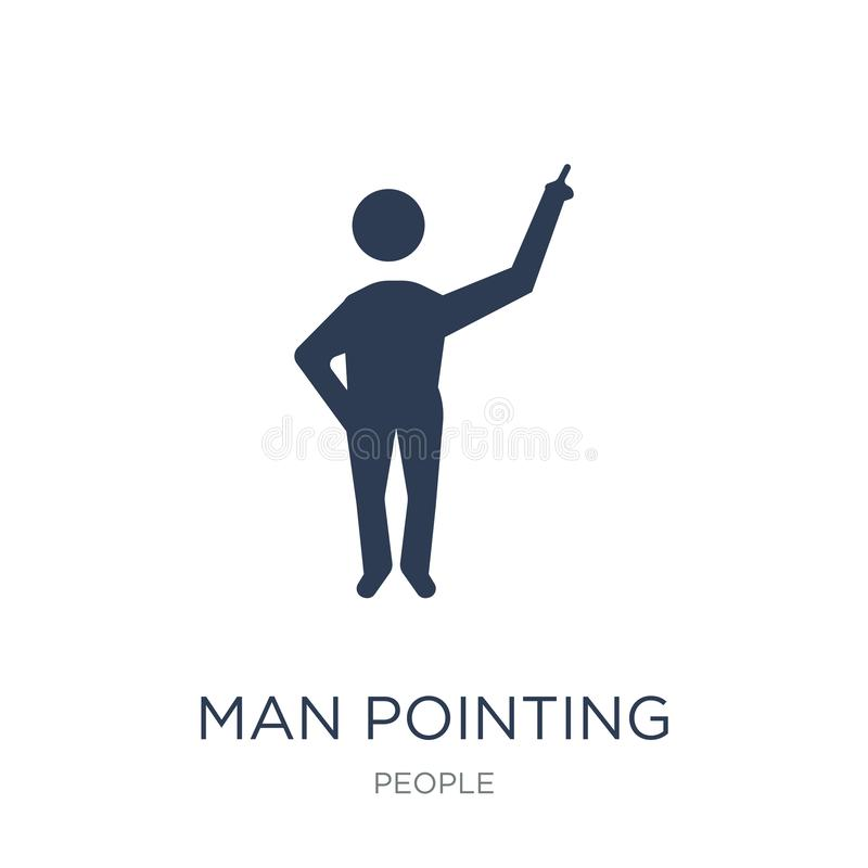 Man pointing icon. Trendy flat vector Man pointing icon on white royalty free illustration
