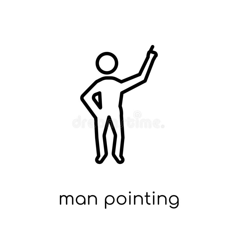 Man pointing icon. Trendy modern flat linear vector Man pointing royalty free illustration