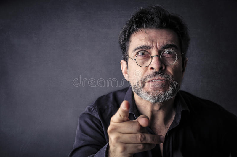 Man pointing out something royalty free stock photos