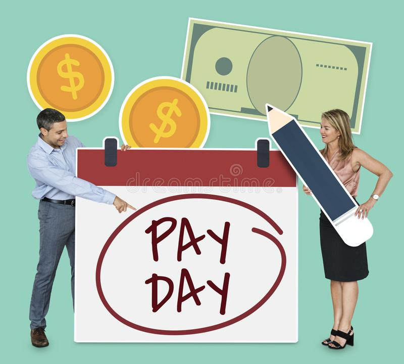 Man pointing at pay day stock photos