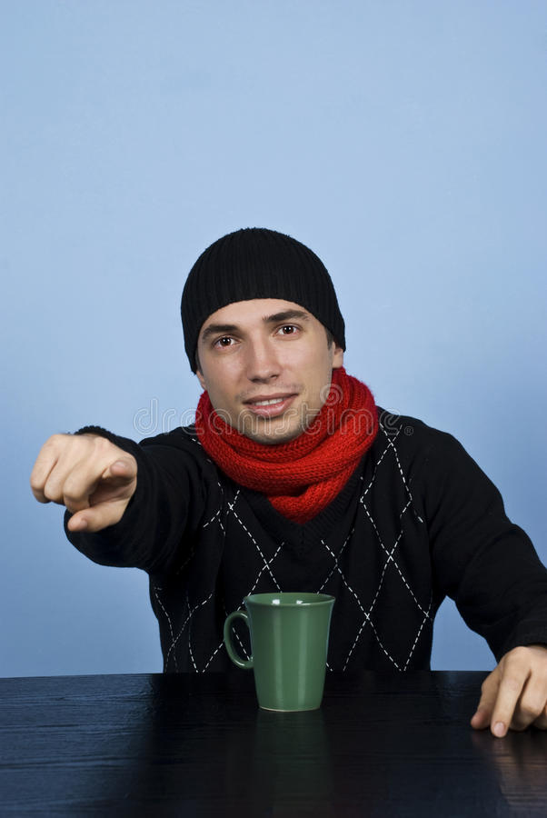 Man pointing to you stock images