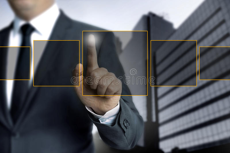 Man pointing on touch screen concept royalty free stock photo