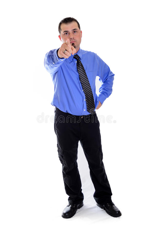 Man pointing at you in shirt and tie. A business man in blue shirt and tie pointing at you stock images