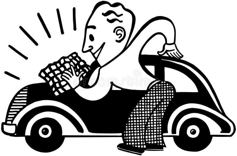 Man Polishing Car stock illustration