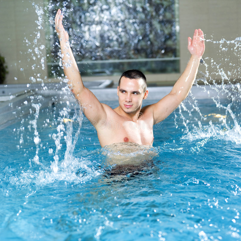 Man in the pool royalty free stock images