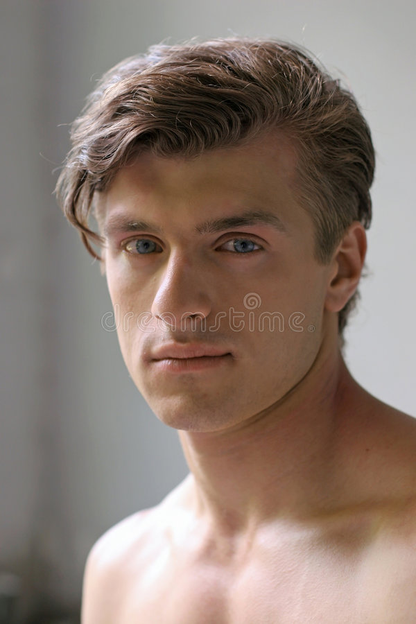 Man portrait. Portrait of young, good-looking, well-build man - close up stock images