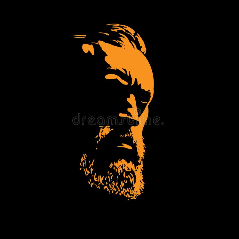 Man portrait silhouette in backlight. Illustration. Man portrait silhouette in backlight. Vector. Illustration vector illustration