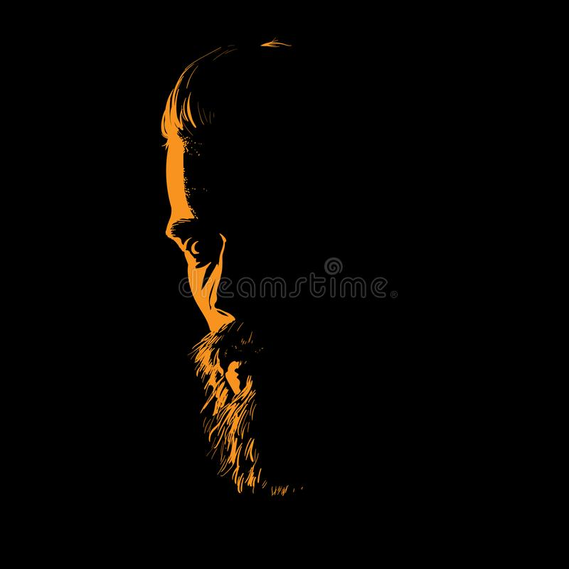 Man portrait silhouette in backlight. Vector. Illustration. Man portrait silhouette in backlight. Vector stock illustration