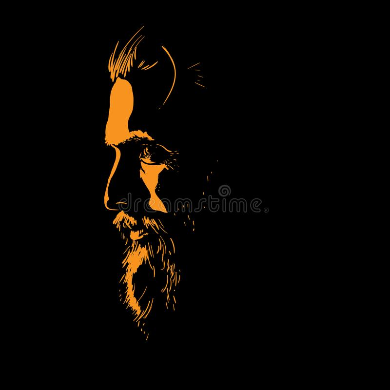 Man portrait silhouette in backlight. Vector. Illustration stock illustration