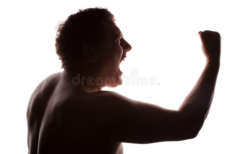 Man Portrait Silhouette Profile Screaming Stock Image