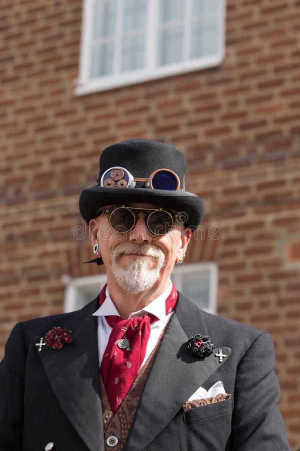 Man Portrait. WHITBY, ENGLAND - April 25, 2015: A Man in Gothic Dress Participating at Whitby Goth Weekend. Whitby Goth Weekend is a Twice-Yearly Music Festival stock photos