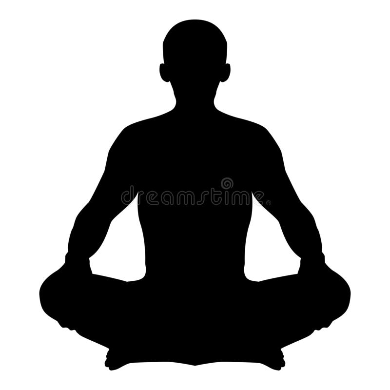 Man in pose lotus Yoga pose Meditation position silhouette Asana icon black color illustration. Man in pose lotus Yoga pose Meditation position silhouette Asana royalty free illustration