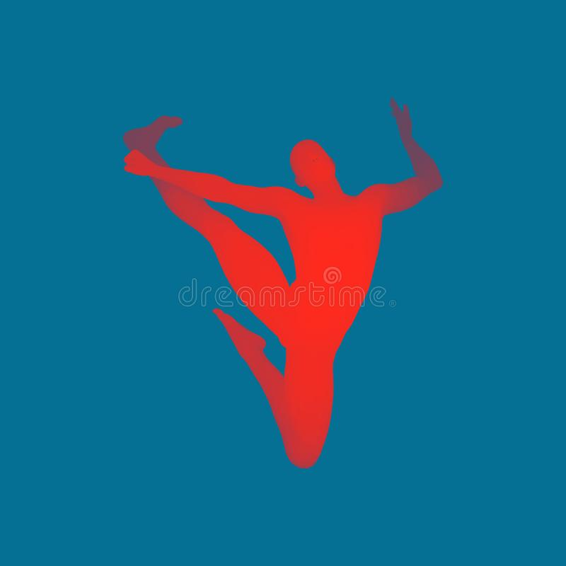 Man is Posing and Dancing. Silhouette of a Dancer. A Dancer Performs Acrobatic Elements. 3D Model of Man. Human Body. Sport Symbol. Design Element. Vector vector illustration