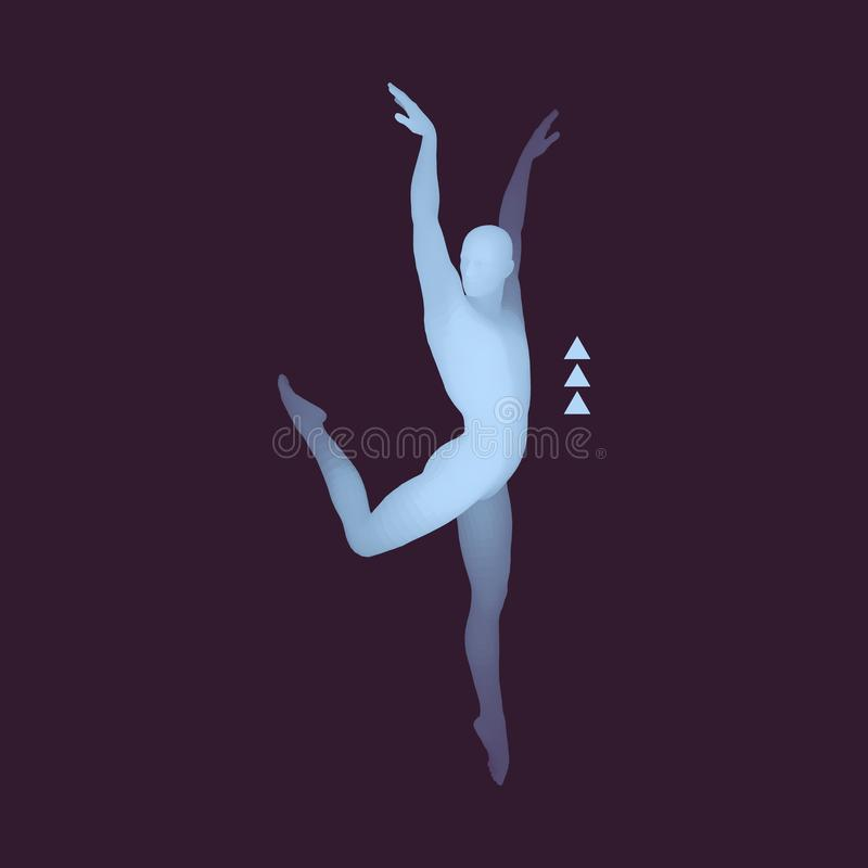 Man is Posing and Dancing. Silhouette of a Dancer. A Dancer Performs Acrobatic Elements. Sports Concept. 3D Model of Man. stock illustration