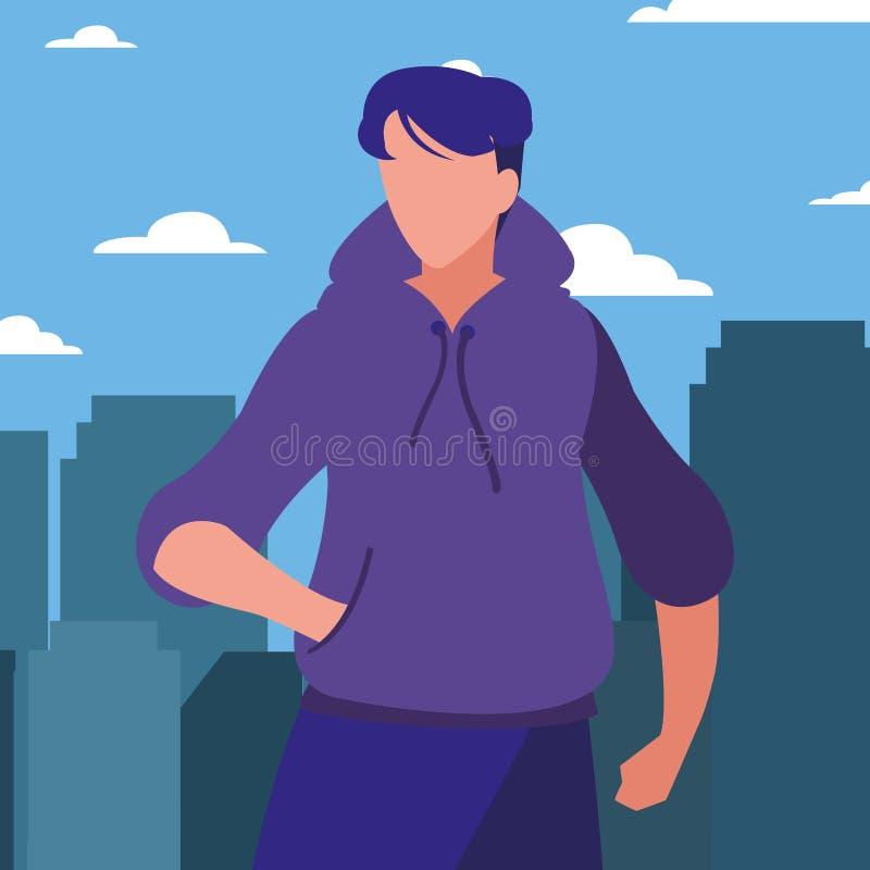 Man posing model. In the city background vector illustration royalty free illustration