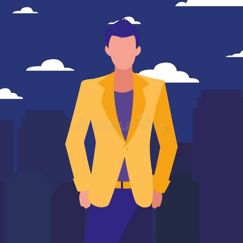 Man posing model. In the city background vector illustration vector illustration