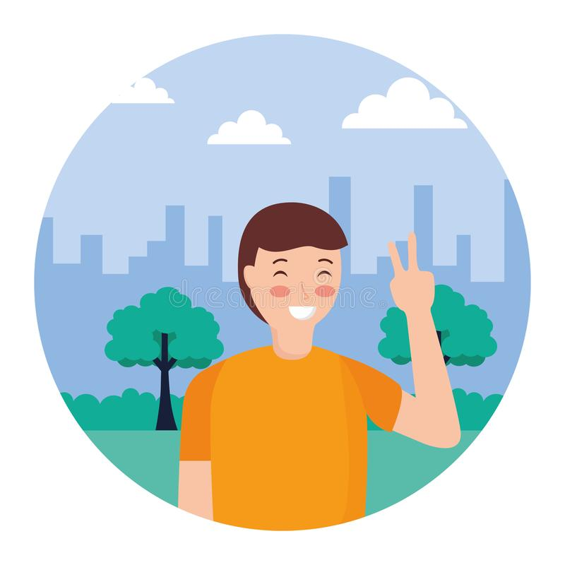Man posing in the park. Man posing peace and love in the park vector illustration vector illustration