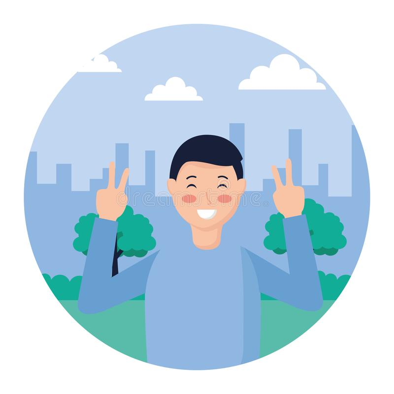 Man posing in the park. Man posing peace and love in the park vector illustration stock illustration