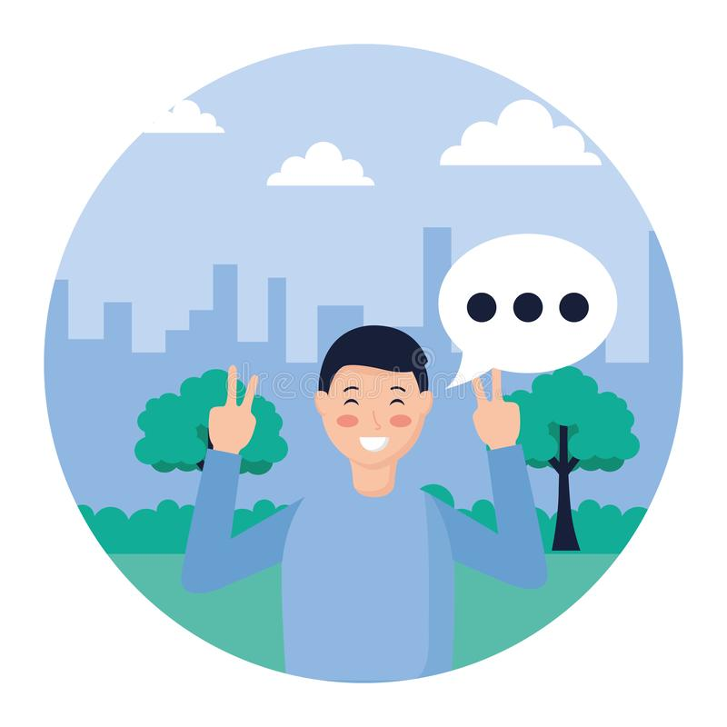Man posing in the park. Man posing peace and love in the park vector illustration royalty free illustration