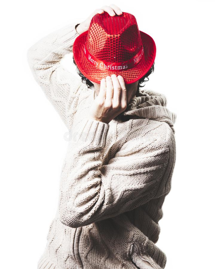 Man with a red christmas hat royalty free stock images