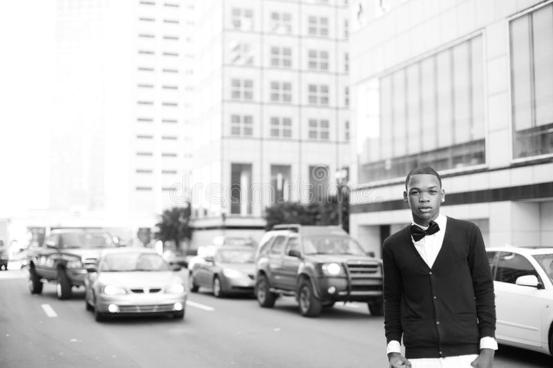 Man posing on the streets of Miami stock images