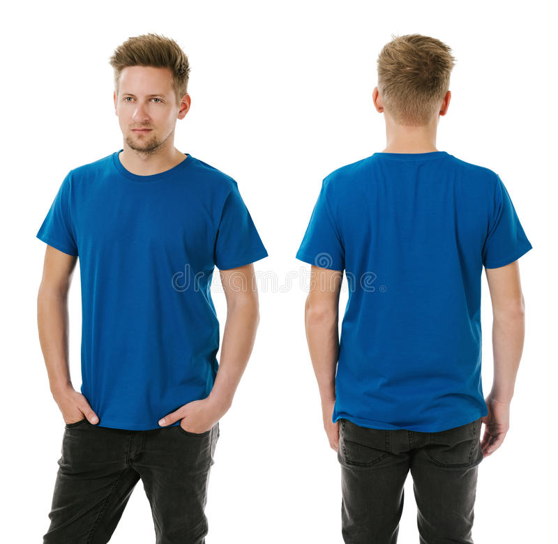 Free Man Posing With Blank Royal Blue Shirt Royalty Free Stock Images - 43480389