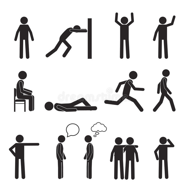 Man posture pictogram icons set. Human body action royalty free illustration
