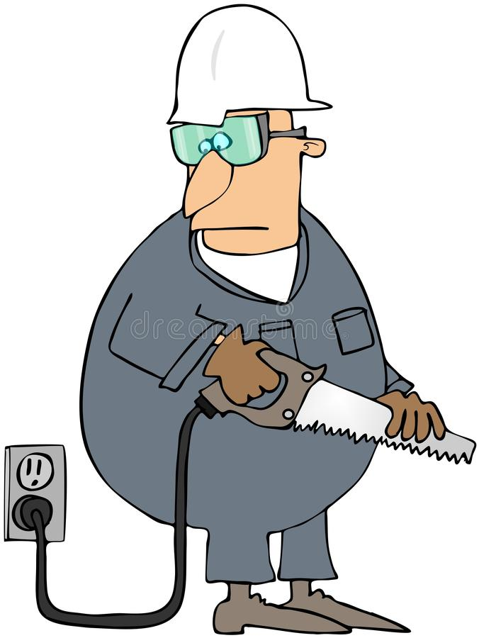 Download Man With A Power Saw stock illustration. Image of worker - 15342082