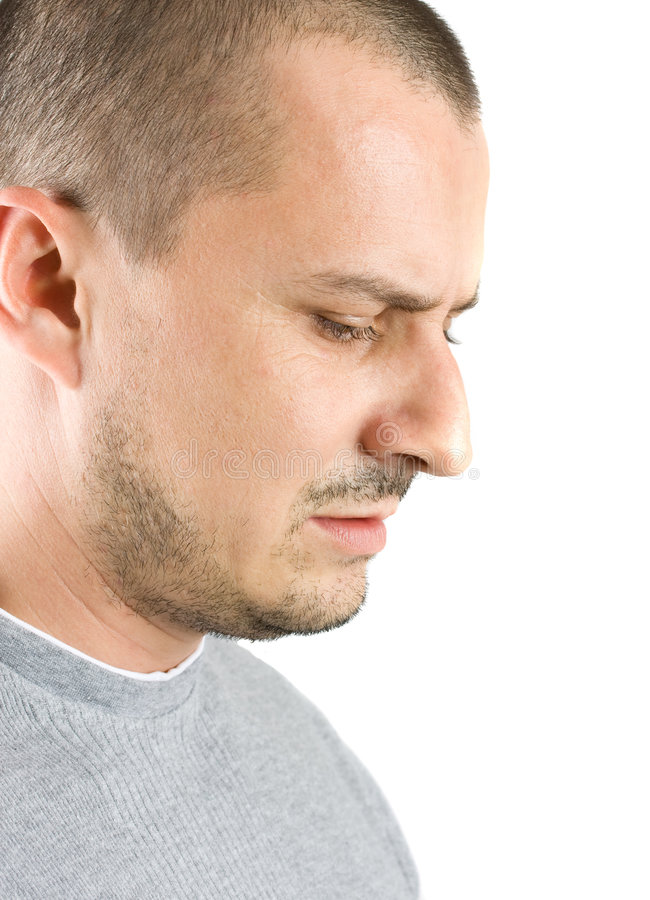 Man With A Powerful Expression Of Concentration Royalty Free Stock Photo