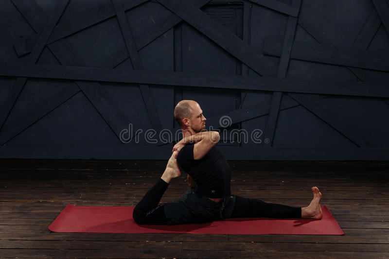 Download Man Practicing Advanced Yoga A Series Of Poses Sport Concept Stock Image
