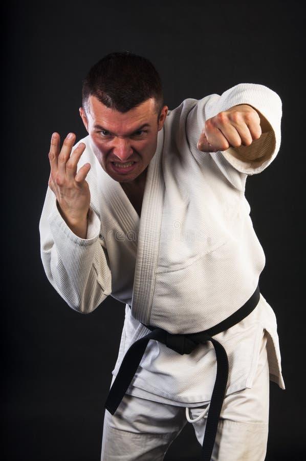 Man practicing Brazilian jiu-jitsu (BJJ). Young man practicing Brazilian jiu-jitsu (BJJ) on brick wall background royalty free stock photo