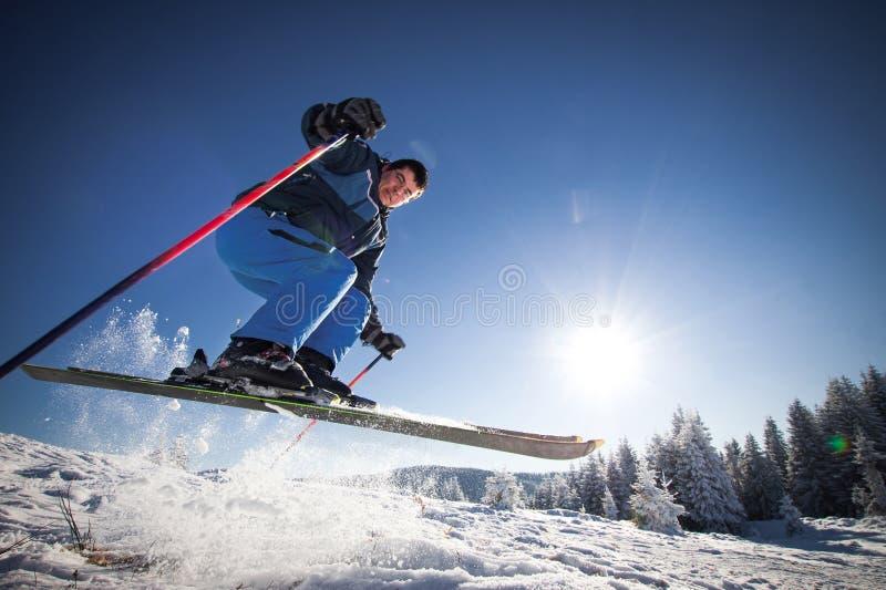 Man practicing extreme ski royalty free stock images