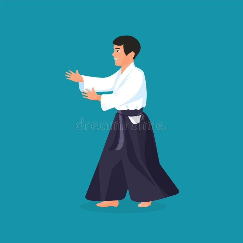 Man is practicing his defending skills in uniform. Colorful vector flat illustration stock illustration