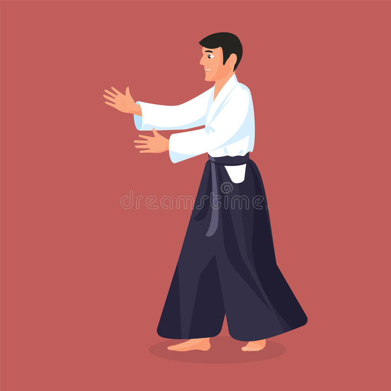 Man is practicing his defending skills in uniform. Colorful vector flat illustration vector illustration