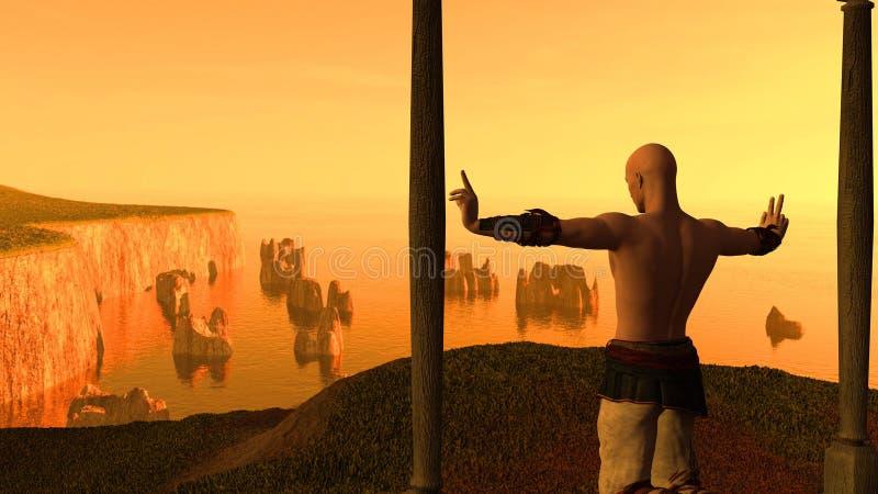 Man practicing at sunset stock illustration