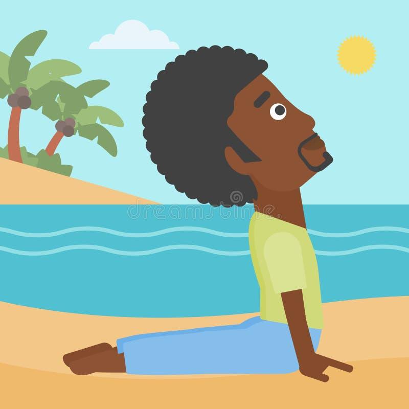 Man practicing yoga. stock illustration