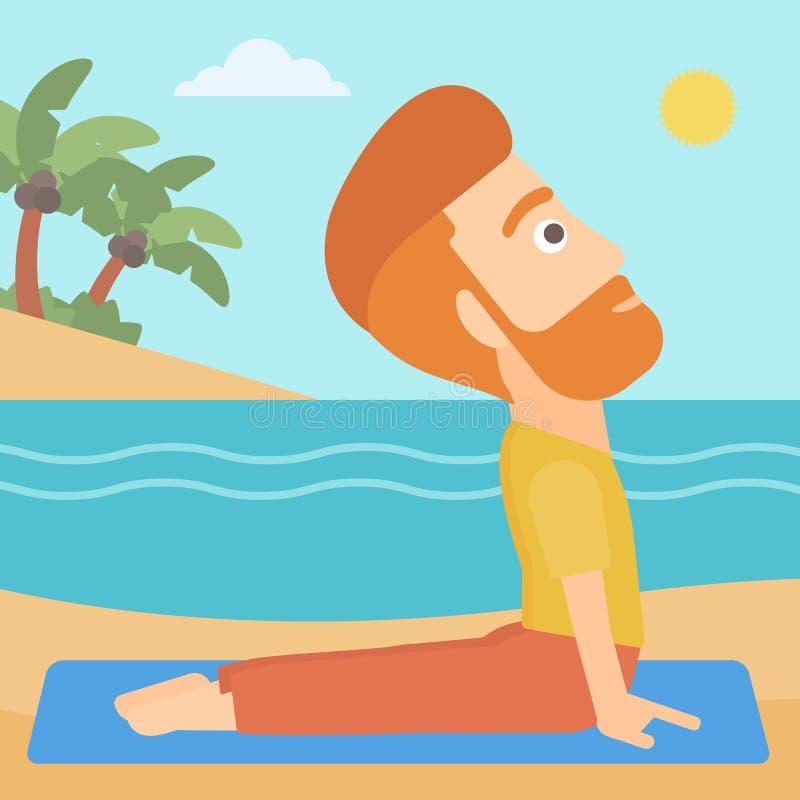Man practicing yoga. vector illustration