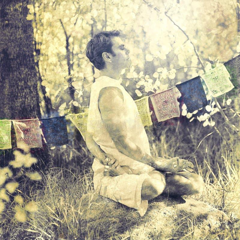 Spiritual Forest Yoga Meditation Man  royalty free stock photos