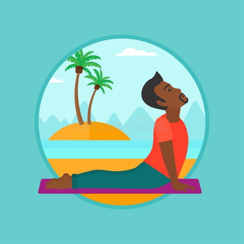 Man practicing yoga upward dog pose on the beach. stock illustration