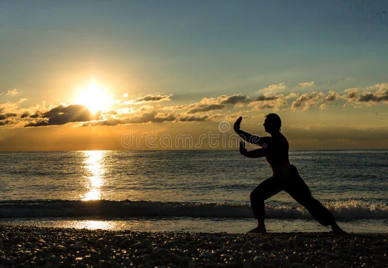 Man Practising Wushu at Sunset. Silhouette of a man on sunset. stock photos