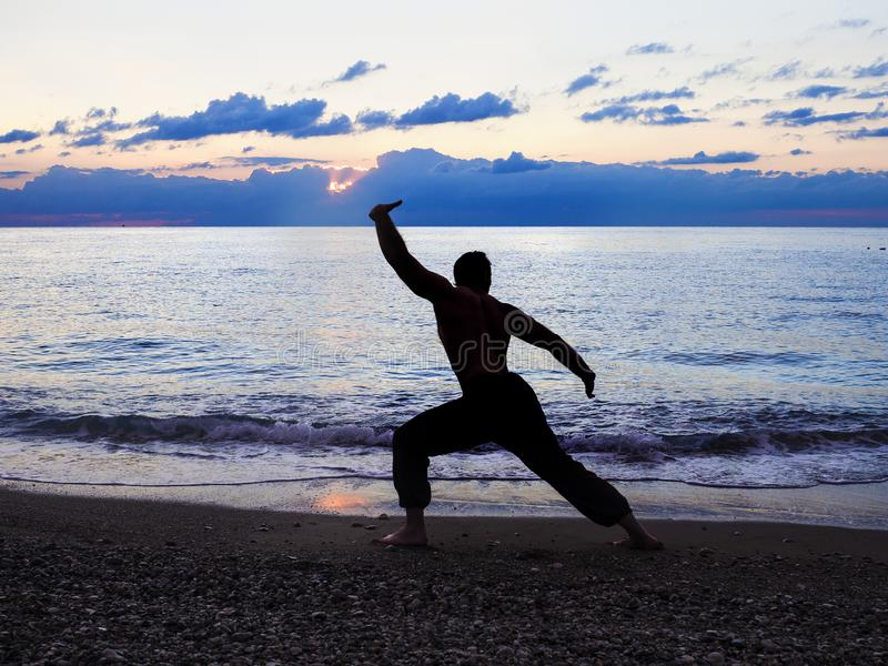 Man Practising Wushu at Sunset. Silhouette of a man on sunset. royalty free stock photography